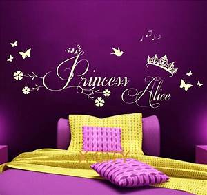 princess crown personalised name children girl bedroom With nice removable wall decals for girls rooms