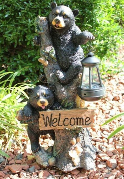 bear  solar statue home garden decor figure light