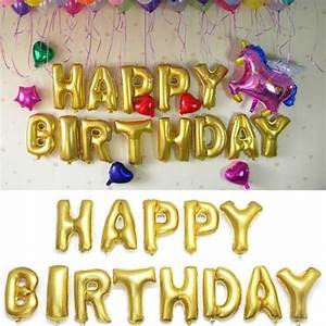 16 inch golden foil alphabet balloons letters happy With happy birthday foil balloon letters