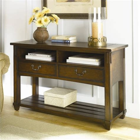 hammary tacoma console table  rustic brown