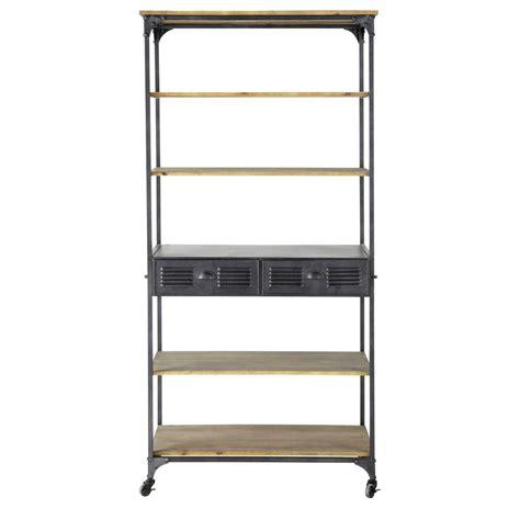 meuble chambre ado fille étagère à roulettes indus en métal anthracite l 92 cm