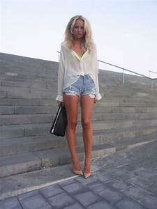 Elin Kling in Denim Shorts and Nude High Heels Outfit Beauty in High Heels | elin kling ...