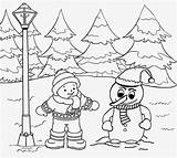 Coloring Christmas Pages Snow Landscape Scene Scenery Drawing Clipart Winter Printable Outline Snowman Clip Drawings Village Cliparts Teenagers Fun Playing sketch template