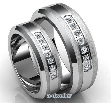 His N Her Tungsten Carbide Diamond Couple Wedding Band