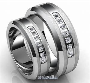 His n her tungsten carbide diamond couple wedding band for Tungsten carbide wedding ring sets