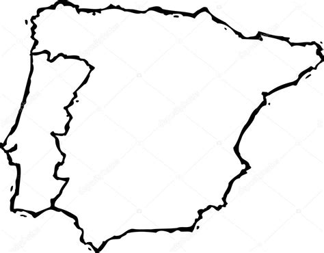 woodcut illustration  map  portugal  spain stock