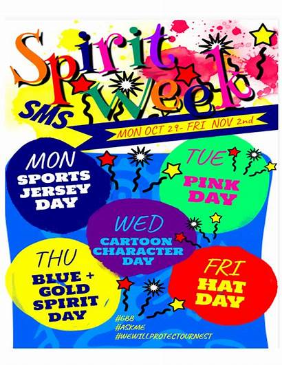 Spirit Week Flyer Themes Middle Sms