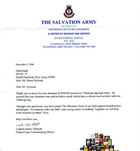 Letter Of Recommendation From The Salvation Army Community Service