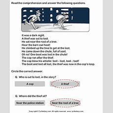 Reading Comprehension Thief Worksheet  Turtle Diary