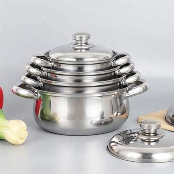multi size italian kitchen cooking pot double handle cookware set stainless steel  lid buy