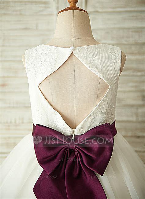 lineprincess knee length flower girl dress tullelace