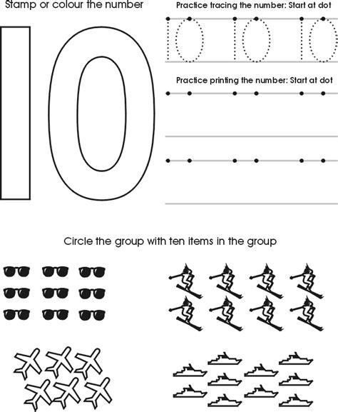 numbers to ten tracing worksheets free preschool