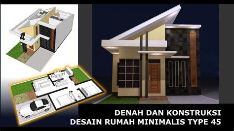 denah  konstruksi desain rumah minimalis type  youtube