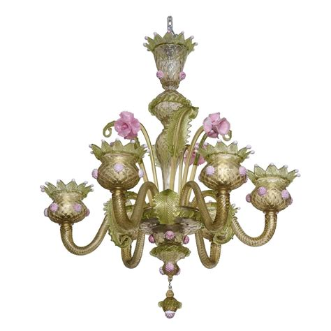 1930s louis xv style green and pink murano glass
