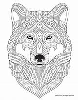 Coloring Adult Pages Animal Fall Wolf Print Woojr Printables Activities sketch template