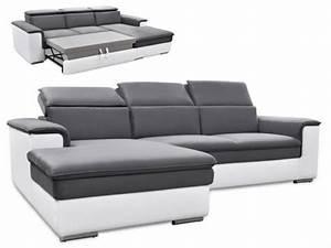 Canapé d'angle convertible avec têtières 3 coloris CONNOR