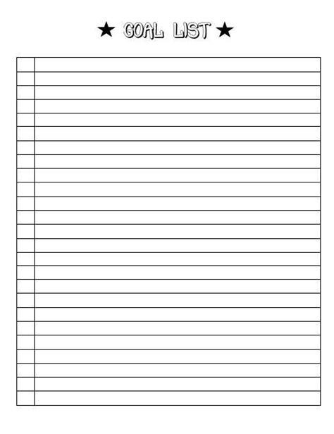 goal template  goal list goal sheet goal tracker