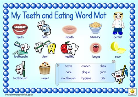 Teeth And Eating Word Mats By Bevevans22  Teaching Resources Tes
