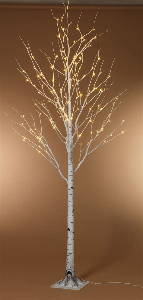 foot led lighted birch tree warm white