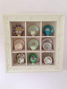 Display, Of, Tea, Cups, In, Vintage, Looking, Framed, Wall, Display