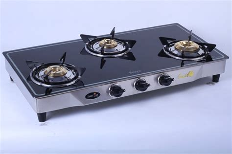 Buy Surya Elite Gas Stove 3 Burner Glass Cooktop Online In