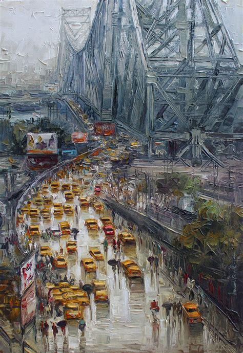 buy painting kolkata wet street artwork    indian