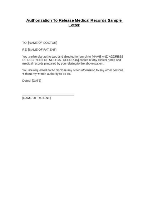 authorization release medical records sample letter