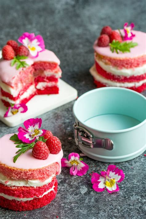 pink ombre rhubarb mini cakes lauren caris cooks