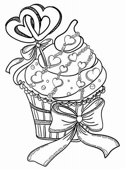 Coloring Pages Adults Valentines Cupcake