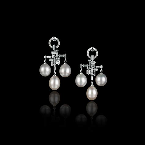 cubism trilogy pearl and chandelier earrings