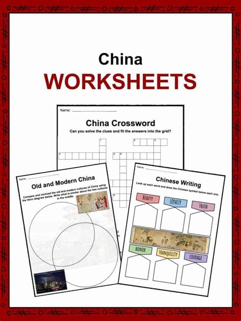 china facts worksheets economy culture history  kids