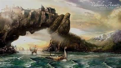 Viking Valhalla Painting Fantasy Wallpapers Vikings Concept