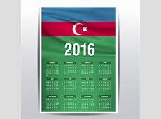 2016 calendar of Azerbaijan flag Vector Free Download