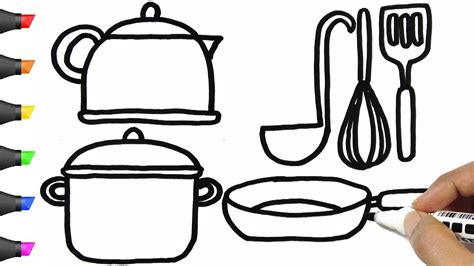 drawing kitchen utensils coloring pages bodraw youtube
