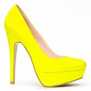114 czółenka NEON yellow jaskrawy żółty Koturny