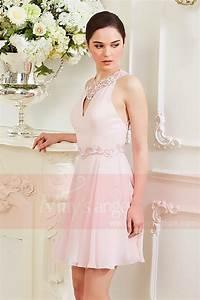 robe courte rose pale aux sublimes lignes de dentelles With robe temoin rose pale