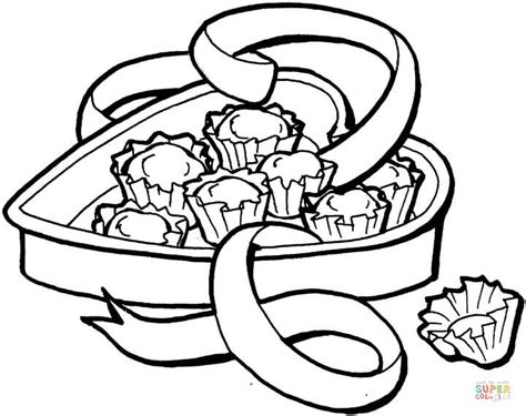 Heart-shape Candy Box Coloring Page