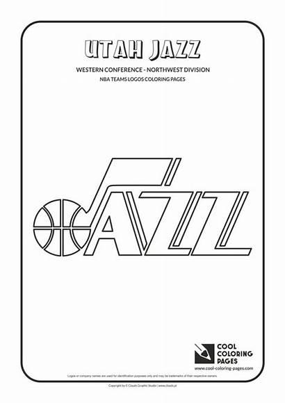 Coloring Nba Basketball Pages Jazz Logos Utah