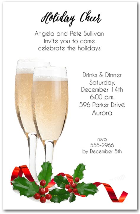 red ribbon champagne toast holiday invitations christmas