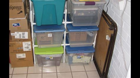 pvc pipe rack   plastic storage bins youtube