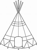 Teepee Tent Drawing Clipart Coloring Native American Tipi Indian Clip Tepee Outline Pages Pattern Sheets Designs Indians Printable Line Quiet sketch template