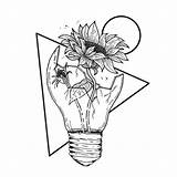 Pencil Drawing Drawings Flowers Draw Broken Sunflower Flower Rose Lightbulb Sketches Inside Sketch Tattoo Space Dibujos Tattoos Surreal Tutorials Bulb sketch template