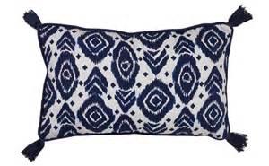 bathroom accessory ideas by sainsbury s moroccan blue printed tassel cushion sainsbury 39 s home