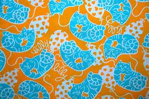 Vintage Lilly Pulitzer Fabric: Cat Balloo by Martha dePoo