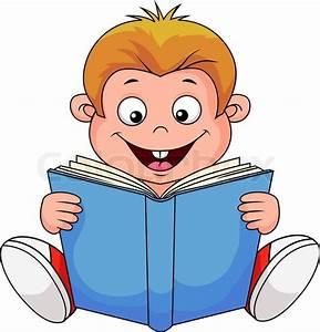 A cartoon boy reading a book | Stock Vector | Colourbox