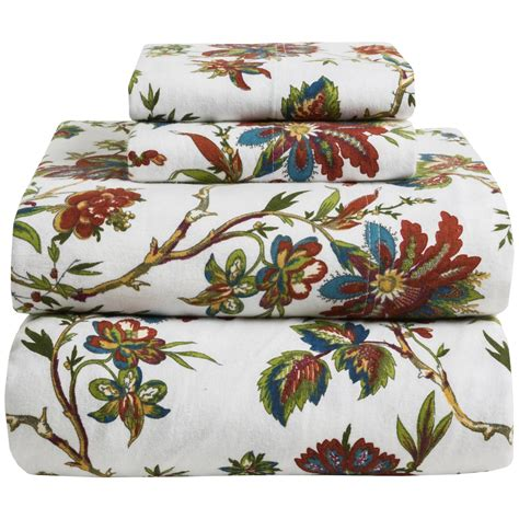 azores home printed floral flannel sheet set twin deep