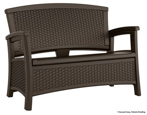 suncast patio furniture canada suncast elements collection wicker bench with storage