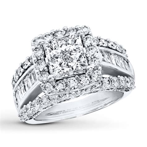 diamond engagement ring 3 cttw princess baguette 14k white gold 991597802 sterlingjewelers