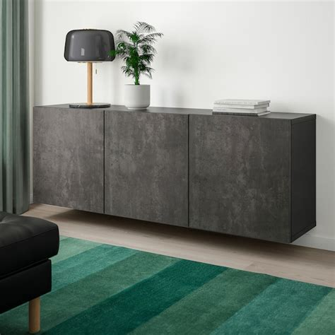 besta wall mounted cabinet combination black brown