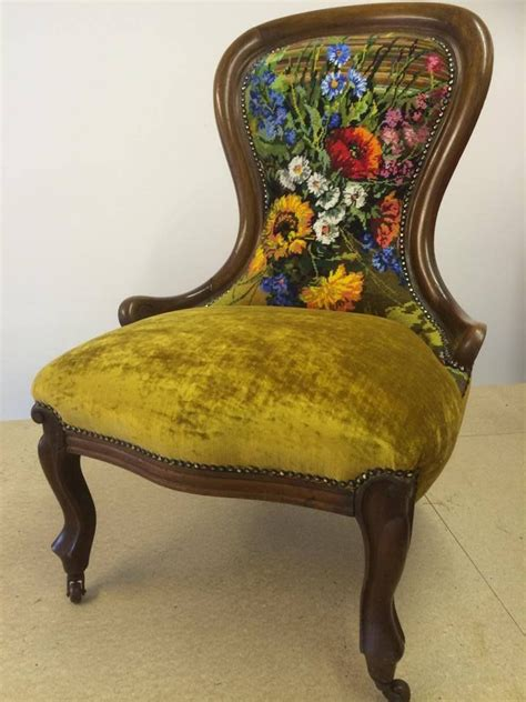 balloon back salon chair reupholstered in a